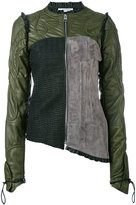 J.W.Anderson colour-block biker jacket - women - Cotton/Lamb Skin/Polyamide/Viscose - 8