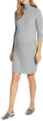 Maternal America Long Sleeve Turtleneck Maternity Sweater Dress