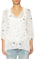 Lucca Couture Lace Up Floral Blouse