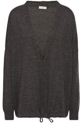 Brunello Cucinelli Bead-embellished Melange Cashmere, Silk And Hemp-blend Cardigan