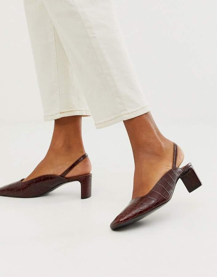 6b7b4325a33 & croc print square toe kitten heel sling back shoes in brown
