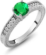 Gem Stone King 1.10 Ct Round Green Nano Emerald White Sapphire 18K White Gold Engagement Ring