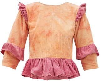 story. Mfg - Alma Tie-dye Ruffled Cotton-corduroy Top - Womens - Pink