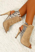 Pink Boutique Bad Liar Stone Faux Suede Snake Print Peep Toe Boots