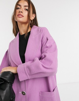 Palones pleat sleeve duster coat in lilac