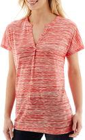 Liz Claiborne Short-Sleeve Extended Shoulder Melange Tunic T-Shirt