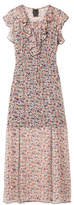 Anna Sui Scattered Flowers Ruffled Floral-print Silk-chiffon Midi Dress - Pink