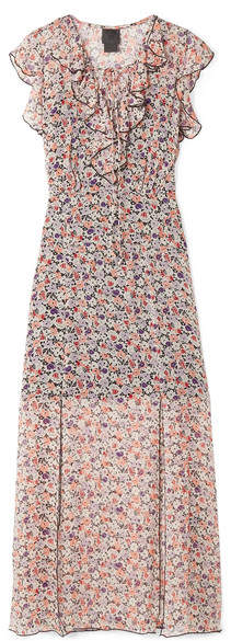 Anna Sui Scattered Flowers Ruffled Floral-print Silk-chiffon Midi Dress - Pink