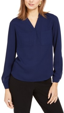 Nine West Two-Pocket V-Neck Blouse