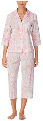 Lauren Ralph Lauren Classic Wovens 3/4 Sleeve Notch Collar Capri Pants Pajama Set (Multi Paisley) Women's Pajama Sets