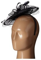 San Diego Hat Company DRS1005 Fasinator with Veil Curled Bow Featers For Derby or Dressy Attire (Black) Dress Hats