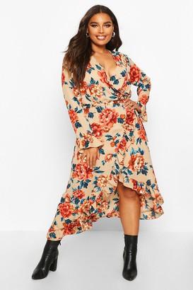 boohoo Plus Floral Ruffle Wrap Midi Dress