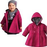 EGELEXY Baby Girls Hooded Warm Wool Cotton Jacket Trench Coat Outwear