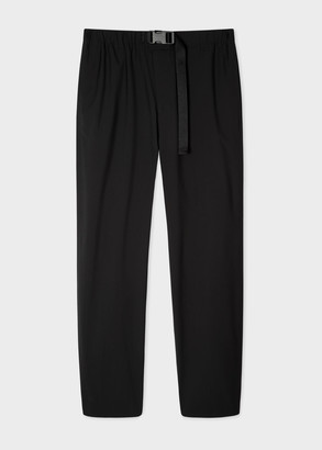 Paul Smith Men's Black Wool-Blend Trousers With Adjustable Belt