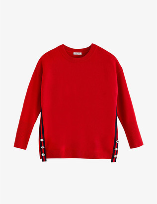 Claudie Pierlot Manceau stripe-trimmed stretch-knit jumper