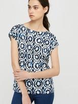 Monsoon Lourde Print Linen T-shirt - Blue