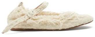 Simone Rocha Faux Pearl-embellished Tweed Mary Jane Flats - Cream