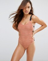 Asos Textured Contrast Elastic Side Scoop Back Swimsuit