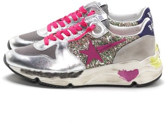 Golden Goose Running Sneakers in Multicolor Glitter/Fuxia Star