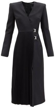 David Koma Knife-pleated Wool Wrap Dress - Black