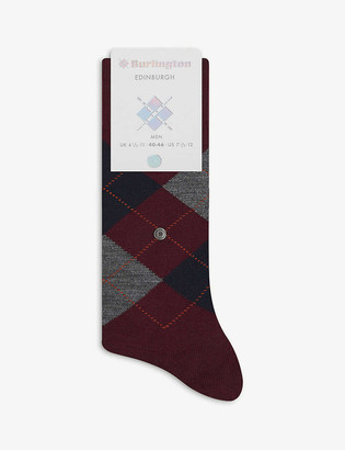 Burlington Edinburgh Argyle-pattern cotton-blend knee-high socks