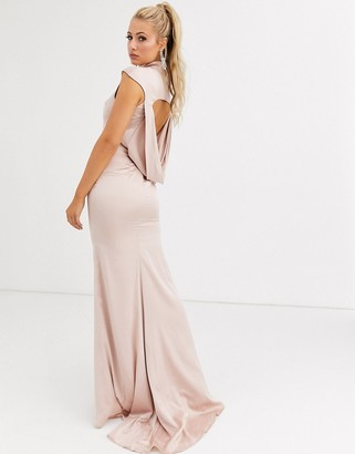 Jarlo satin maxi dress with cowl back and fishtail skirt in pale gold