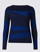 Limited Edition Spliced Textured Round Neck Jumper