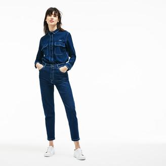 Lacoste Women's Regular Fit Stretch Cotton Denim Carrot Pants