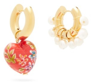 Timeless Pearly Mismatched Pearl & Heart Gold-plated Earrings - Red White