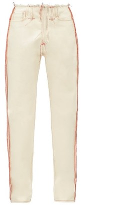 Maison Margiela Raw-cut Topstitched Straight-leg Jeans - White