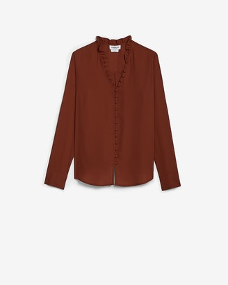Express Original Fit Ruffle Collar Portofino Shirt