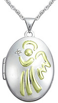 Precious Moments .005 ct. t.w. Diamond and Sterling Silver Two-Tone Angel Locket Pendant