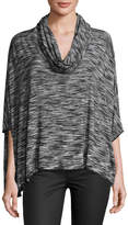 Joan Vass Cowl-Neck Jersey Poncho, Black/White