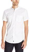Calvin Klein Men's One Texture Band Collar Short Sleeve Button Down Shirt