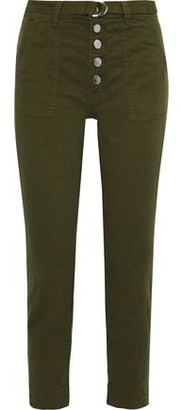 J Brand Kyrah Cropped Belted Cotton-blend Twill Slim-leg Pants
