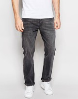 Asos Stretch Straight Jeans In Mid Grey
