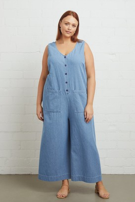 Warehouse Cody Jumpsuit - Stonewash, Plus Size