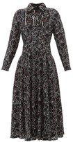 Valentino X Undercover Lip Floral-print Silk Dress - Womens - Black Print