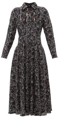 Valentino X Undercover Lip Floral-print Silk Dress - Womens - Black Print