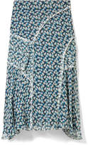 Jason Wu Ruffled Floral-print Crinkled Silk-chiffon Midi Skirt - Blue