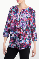 NYDJ Loverly Blossoms Print 3/4 Sleeve Blouse In Petite