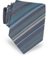 Missoni Navy Blue Diagonal Stripe Woven Silk Narrow Tie