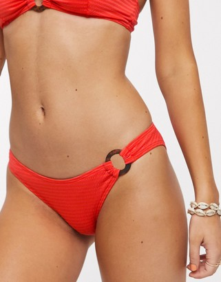 Topshop textured bikini bottoms in red