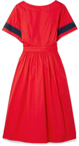 Tome Dirndl Striped Cutout Cotton-poplin Dress - Red