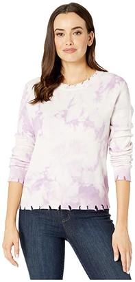 American Rose Lyla Long Sleeve Distressed Tie-Dye Sweater (Lavender) Women's Clothing