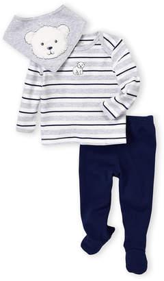 Little Me Newborn/Infant Boys) 3-Piece Bear Striped Top & Footie Pants Set