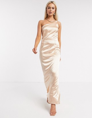TFNC Bridesmaid one shoulder satin maxi dress in champagne
