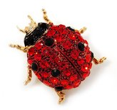 Avalaya Red Swarovski Crystal Ladybug Brooch ( Tone Metal) - 30mm Length