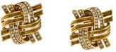 Oscar de la Renta Woven Crystal Square Clip-On Earrings