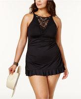 Becca Etc Plus Size Lace-Yoke Swimdress Women's Swimsuit